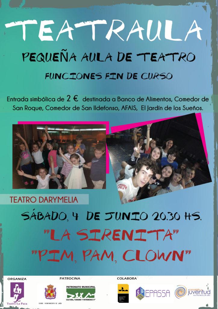 4 de junio CARTEL TEATRAULA sirenita y pim pam clown